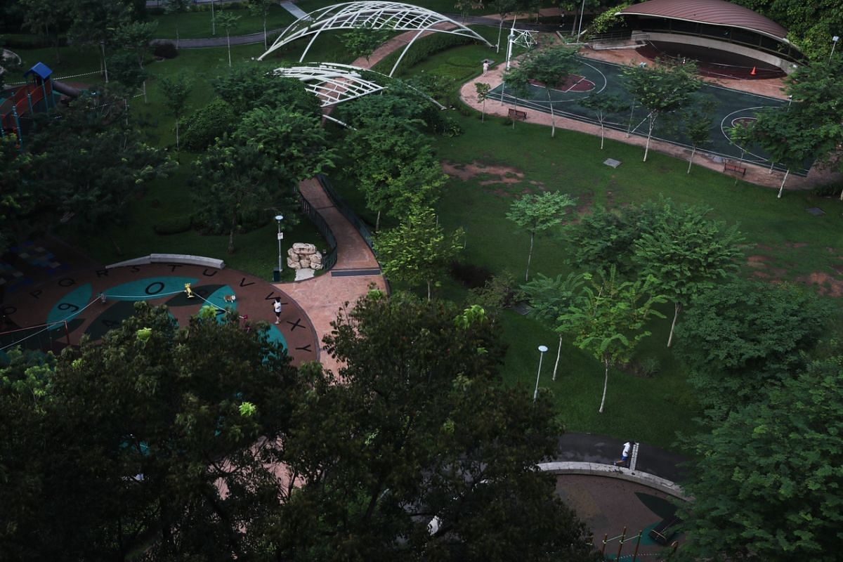An almost empty Firefly Park in Clementi on April 30, 2020.