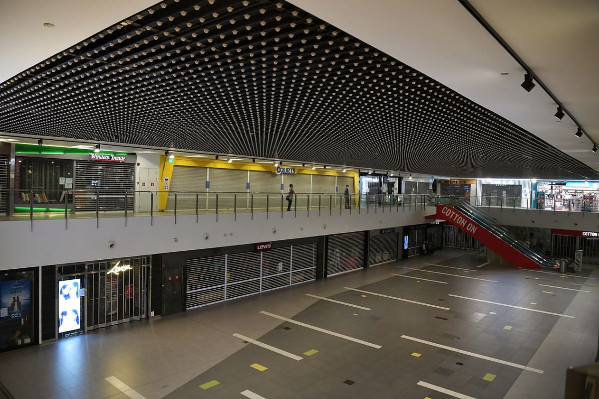 A virtually empty Nex Shopping Mall on April 28, 2020.