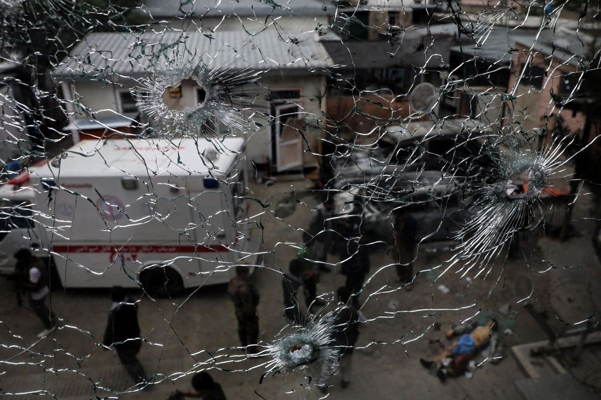 A bullet ridden window at the scene of an attack at MSF (Doctors without Borders) hospital, in Kabul, Afghanistan on May 12, 2020. PHOTO: EPA-EFE