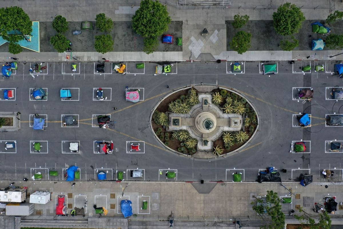 An aerial view of San Francisco's first temporary sanctioned tent encampment for the homeless on May 18, 2020 in San Francisco, California.  PHOTO: GETTY IMAGES/AFP