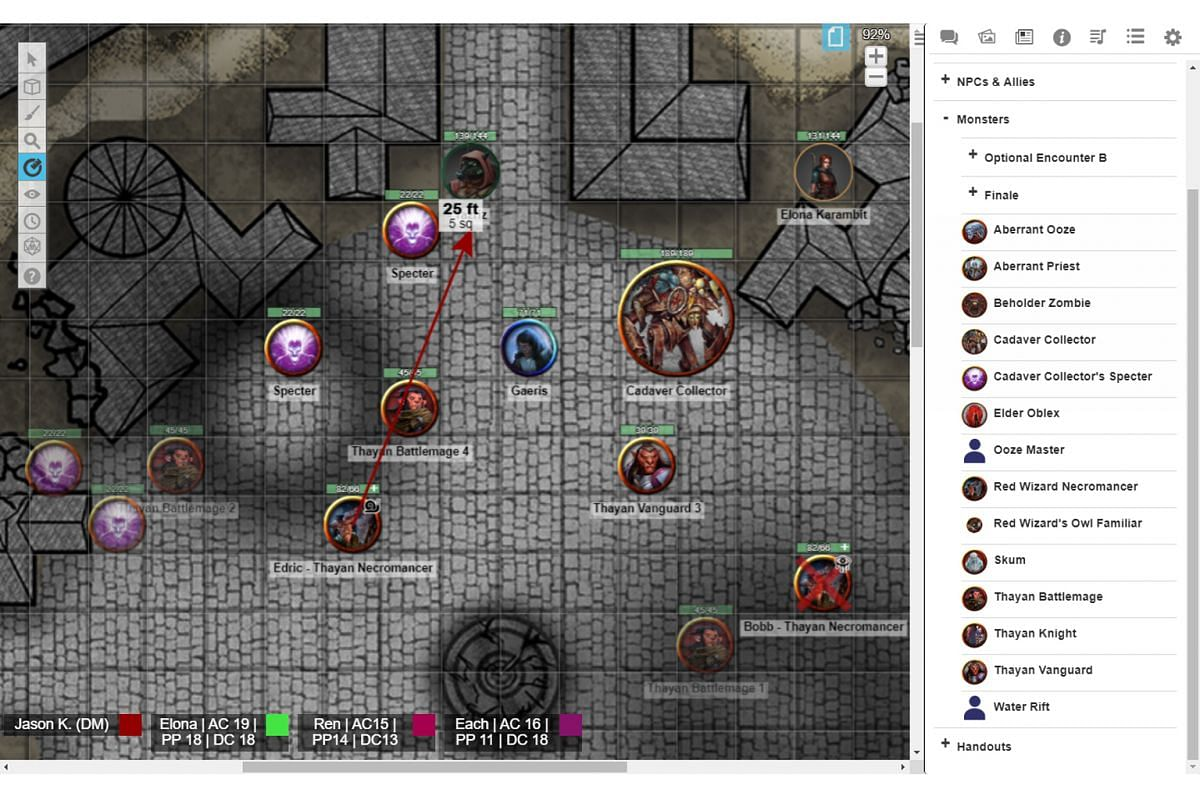 This is what online DDAL games look like when run on virtual platforms like Roll20, with tokens representing player characters and NPCs, placed on virtual representations of a tabletop map.