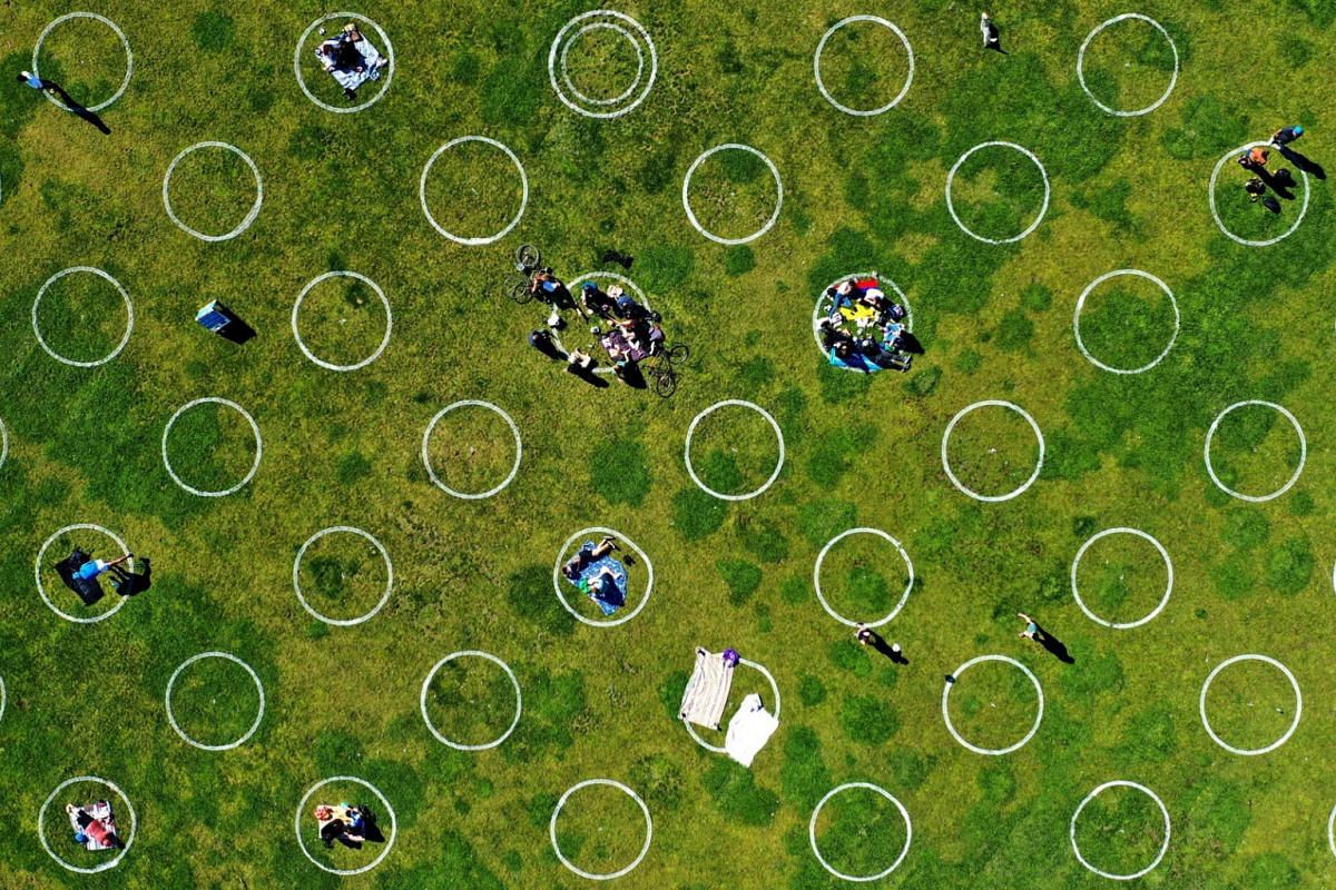 In an aerial view by drone, new social distancing circles are shown at Dolores Park on May 20, 2020 in San Francisco, California. PHOTO: GETTY IMAGES/AFP