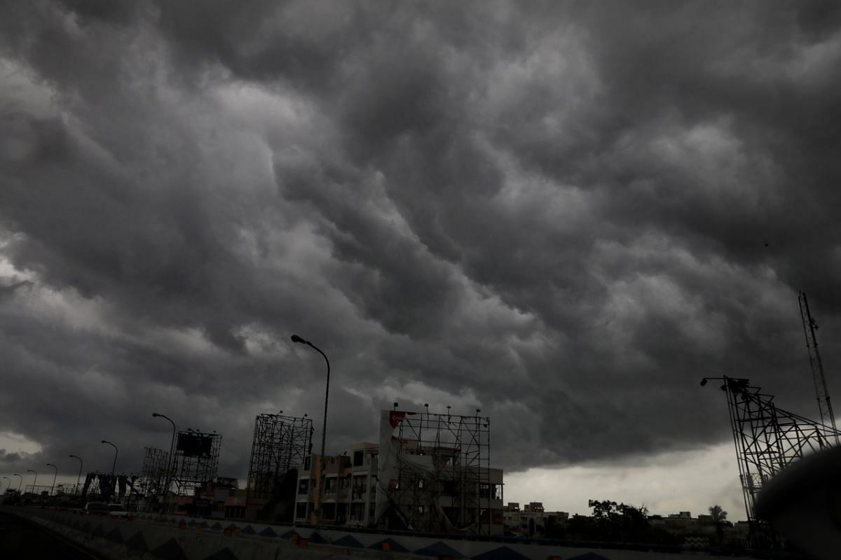 Dark rain clouds as cyclonic storm Amphan is expected to hit the Bengal area in Kolkata, India, on May 19, 2020.