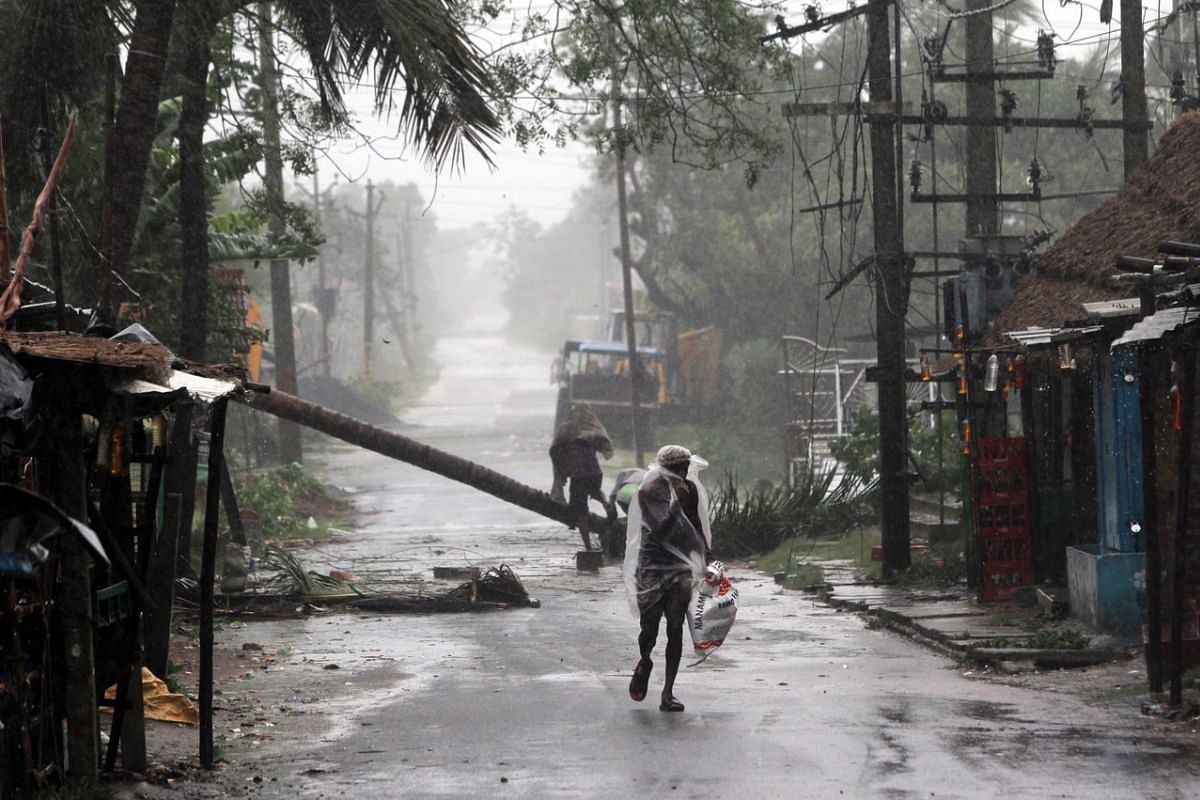 Heavy rain and wind hit Odisha, India, as cyclone Amphan approaches on May 20, 2020.