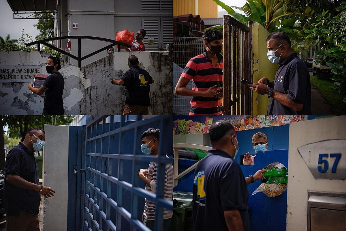 Above: Reverend Samuel Gift Stephen checking in on guest workers staying in factory-converted dormitories mostly in the Tuas View area, where he also helps with ration deliveries and follows up on workers' welfare. He has been spending 10 to 12 hours