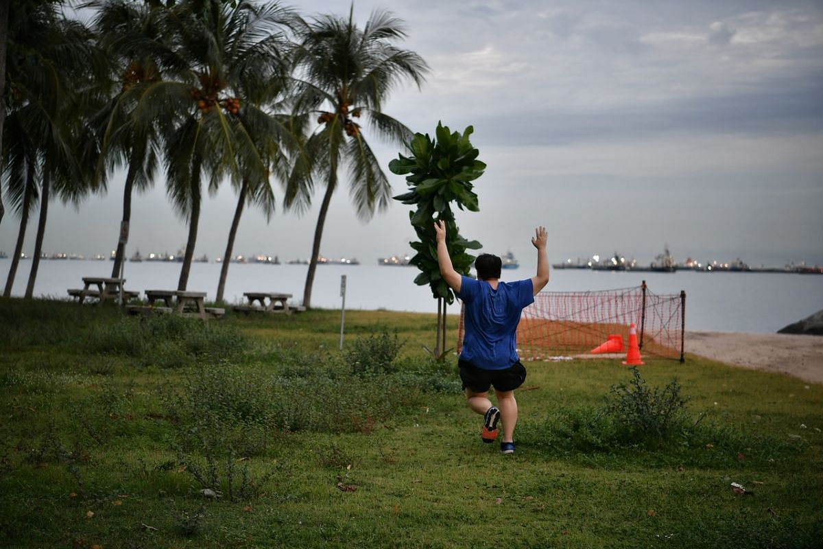 A man raises his hands in celebration while running on the grass patch previously cordoned off at East Coast Park on June 18, 2020.