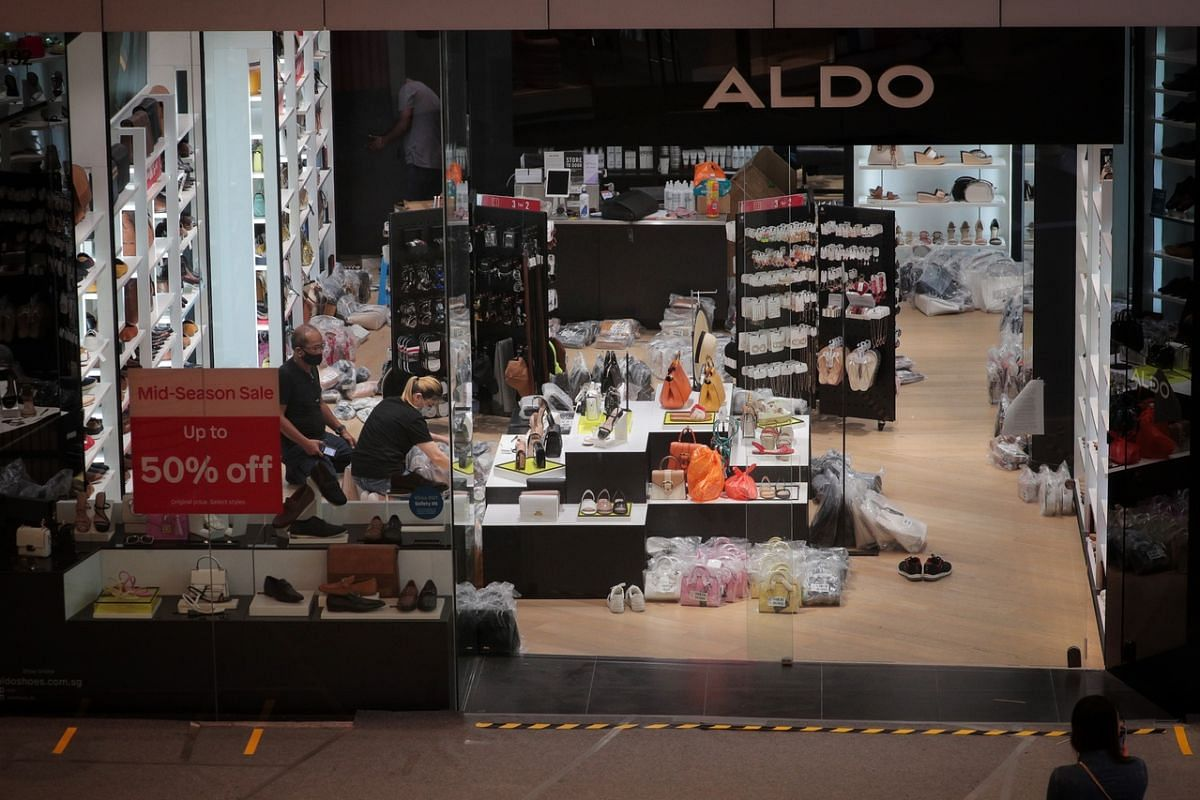 Staff at work at the Aldo store in VivoCity on June 18, 2020.