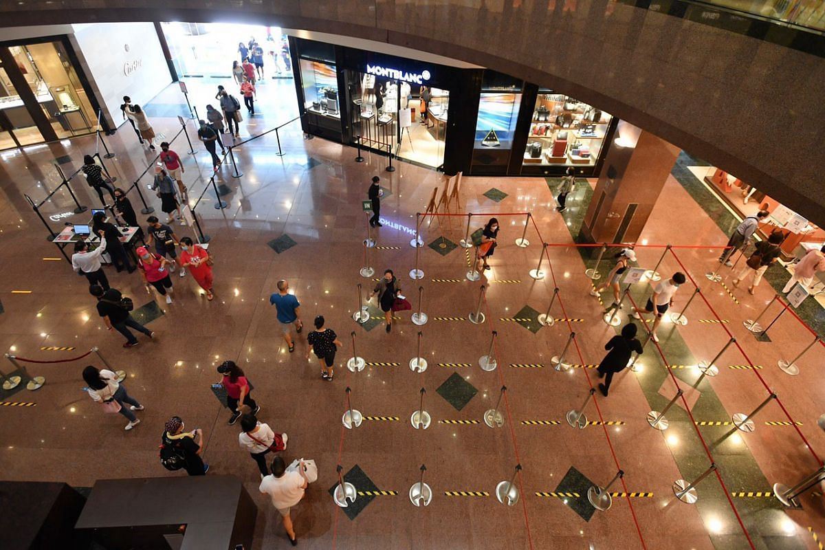 Shoppers at Ngee Ann City on June 19, 2020.