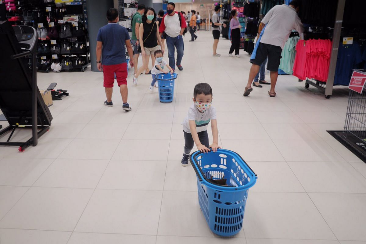 Shoppers at the Decathlon store in City Square Mall on June 19, 2020.