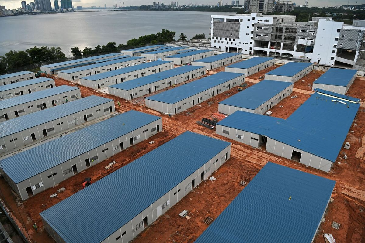 A new Quick Build Dormitory (QBD) is being built in Kranji Way as seen in a photo taken on June 22, 2020. It is one of the temporary structures that will serve as a test bed for the Government to pilot improved standards for dormitories before it dec