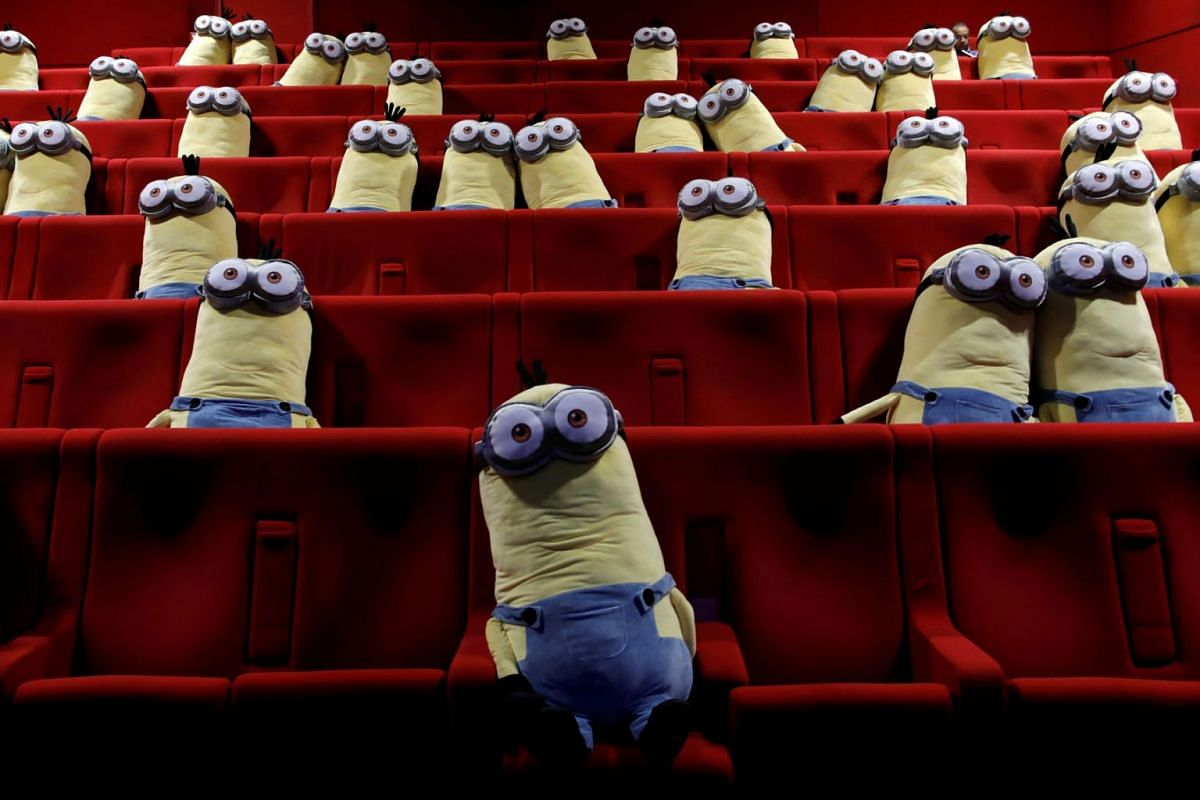 Minions toys are seen on cinema chairs to maintain social distancing between spectators at a MK2 cinema in Paris as Paris' cinemas reopen doors to the public following the coronavirus disease outbreak in France, June 22, 2020. PHOTO: REUTERS