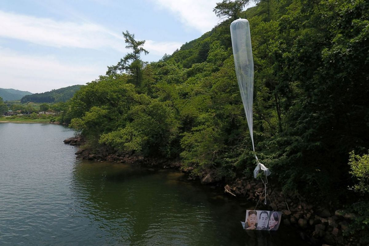 A balloon containing leaflets denouncing North Korean leader Kim Jong Un, released by a North Korean defector group on June 22, is found at a hill in Hongcheon, South Korea on June 23, 2020. PHOTO: YONHAP VIA REUTERS