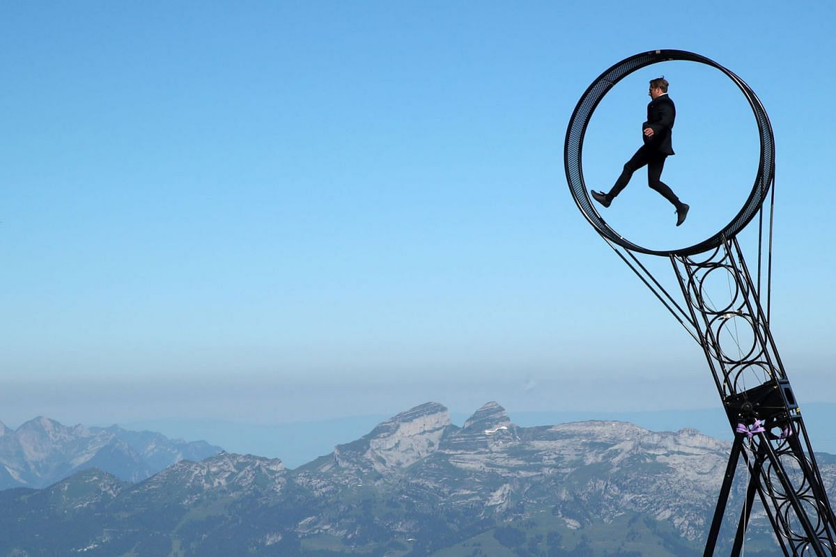 Swiss acrobat Ramon Kathriner performs Wheel Of The Death during the Airshow, marking the reopening of facilities after the coronavirus disease lockdown in Les Diablerets, Switzerland, June 23, 2020. PHOTO: REUTERS