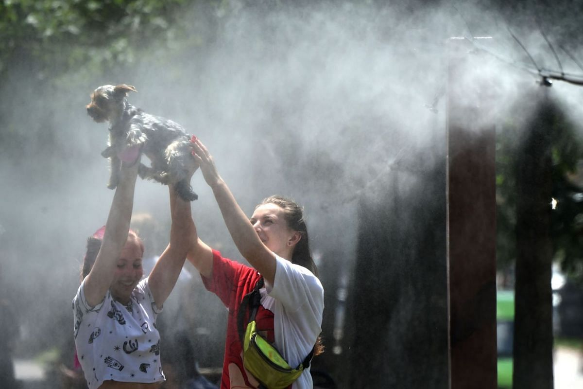 Girls refresh themselves and their dog with water spray frames set along the central street of the Ukrainian capital of Kiev during a heatwave on June 25, 2020. PHOTOH: AFP
