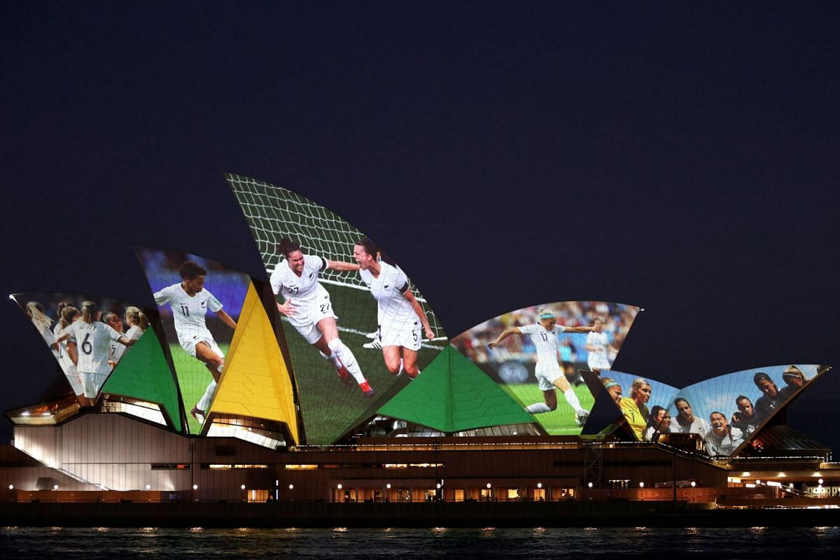 The Sydney Opera House lights up in celebration of Australia and New Zealand's joint bid to host the FIFA Women's World Cup 2023, in Sydney, Australia, June 25, 2020. PHOTO: REUTERS