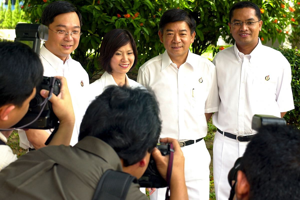 (From left) Mr Gan Kim Yong, Dr Amy Khor Lean Suan, Mr Khaw Boon Wan and Mr Zainudin Nordin when they were introduced as People's Action Party candidates in 2001.