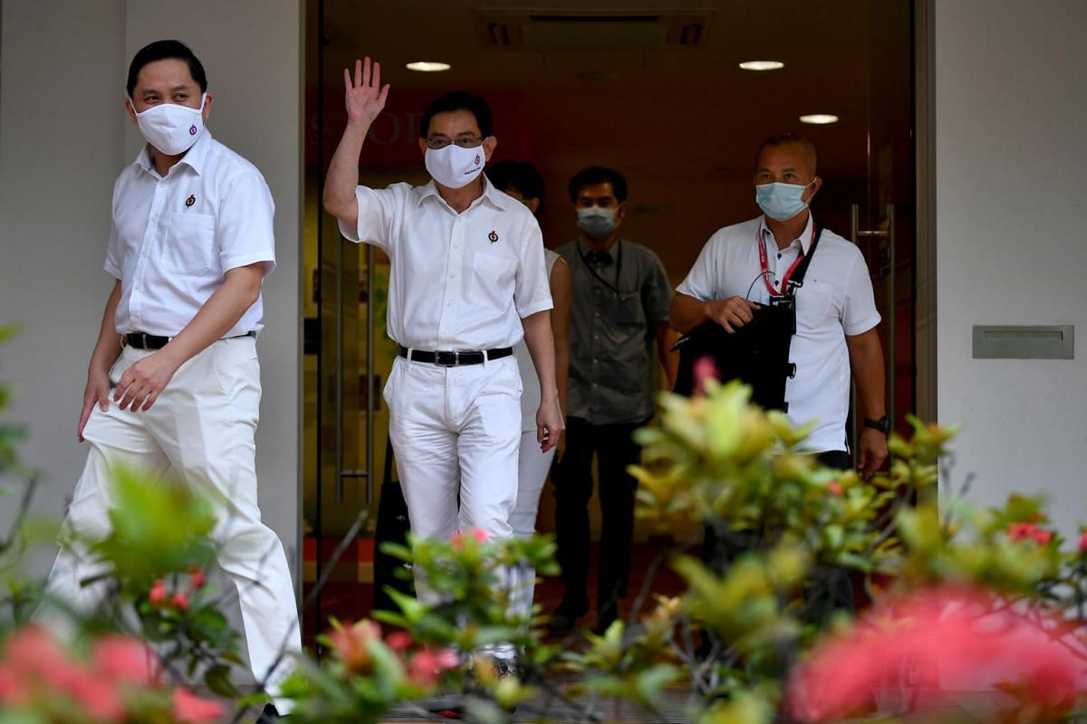 DPM Heng Swee Keat leaves the People's Action Party (PAP) headquarters in New Upper Changi Road after a zoom press conference on June 30, 2020.
