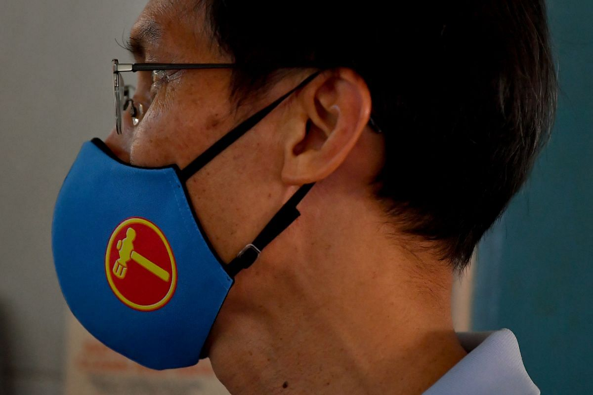 A mask with the WP logo worn by a supporter during a walkabout at The Marketplace @ 58 at New Upper Changi Road on July 4, 2020.
