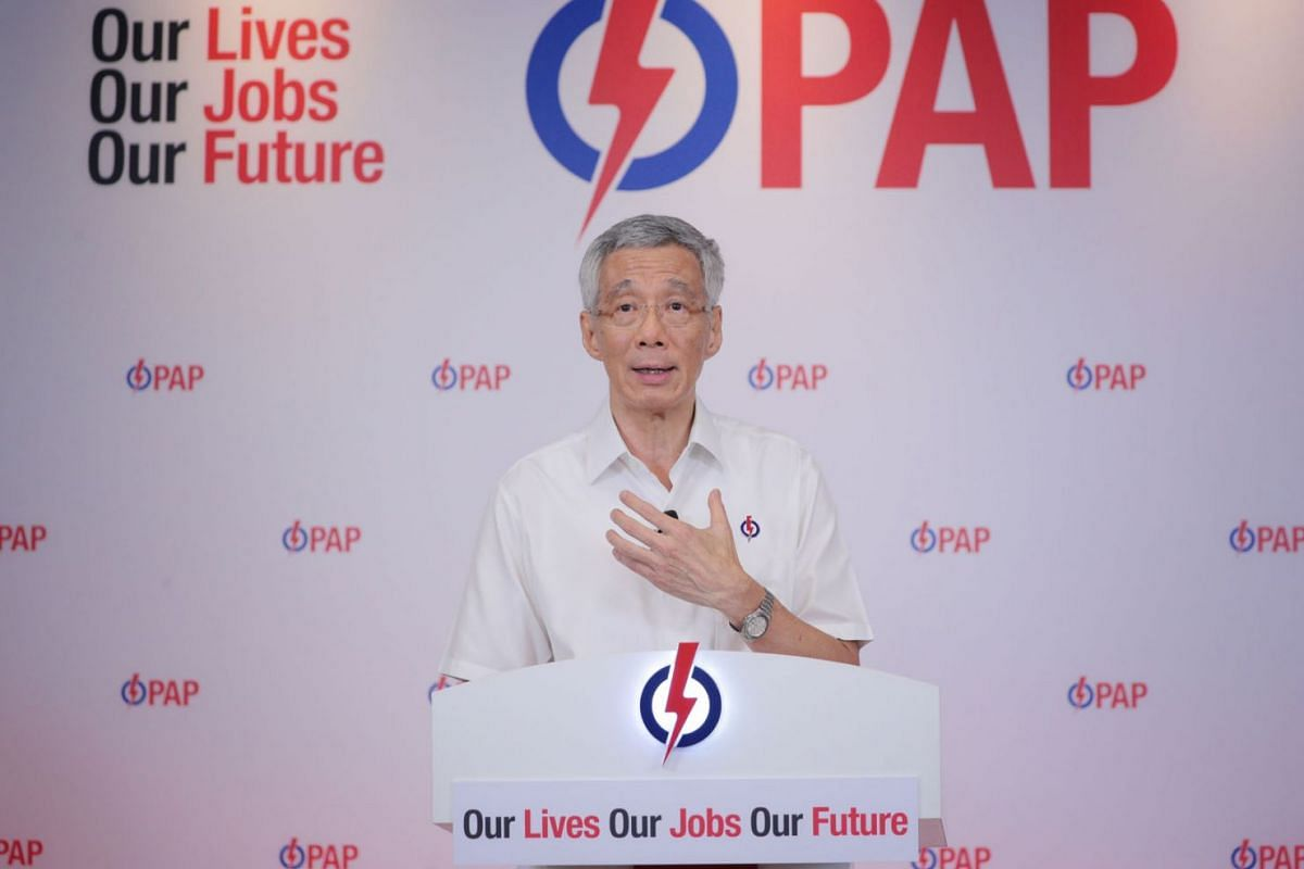 Prime Minister Lee Hsien Loong speaking during his lunchtime rally on July 6, 2020, which was streamed live on Facebook and YouTube this year due to the coronavirus pandemic. PHOTO: THE STRAITS TIMES/JASON QUAH