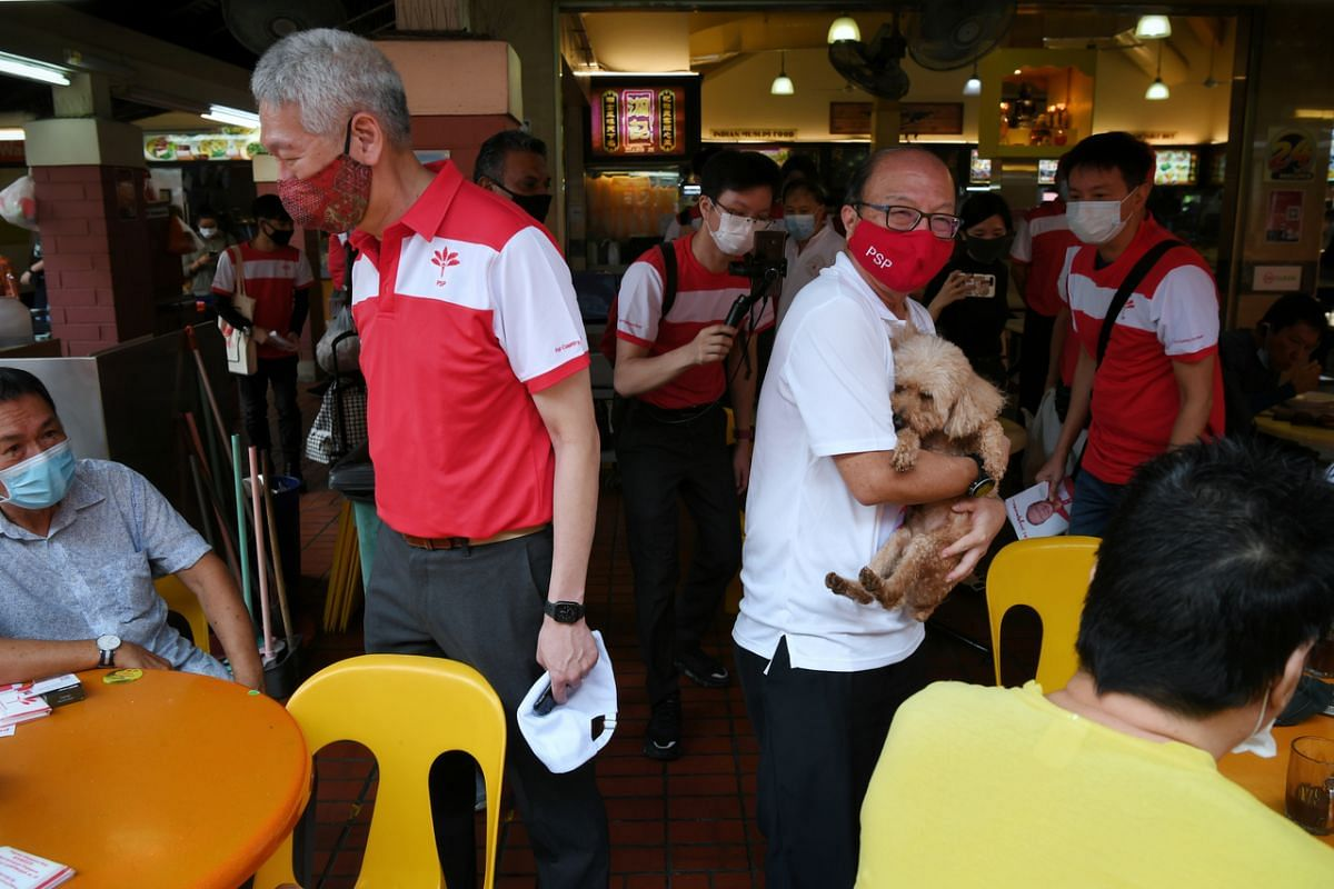 The Progress Singapore Party's candidate for Marymount SMC, Dr Ang Yong Guan (with a resident's dog), and Mr Lee Hsien Yang during a walkabout at Bishan North Mall on July 7, 2020.