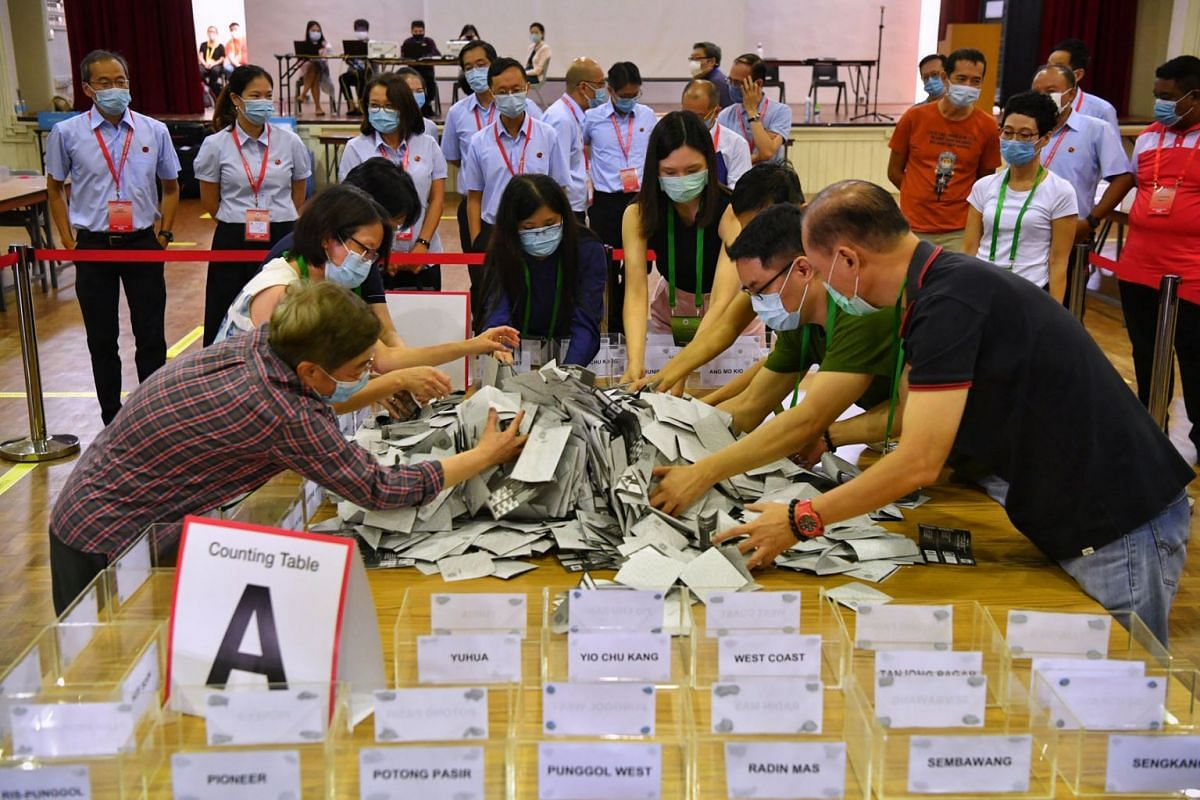 Election officials preparing to count the overseas votes in the presence of candidates from various parties on July 15, 2020. PHOTO: THE STRAITS TIMES/CHONG JUN LIANG
