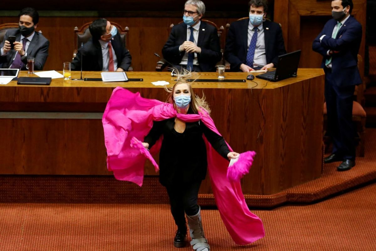 Chile's opposition congresswoman Pamela Jiles celebrates the vote during a congressional session to reject a constitutional reform on pensions proposed by opposition lawmakers in Valparaiso, Chile on July 15, 2020. PHOTO: REUTERS