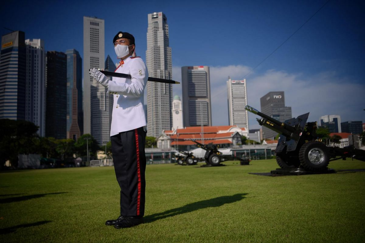 Battery Sergeant Major for the Presidential Gun Salute 3SG Roy Ng pictured before the NDP rehearsal at the Padang on July 26, 2020.