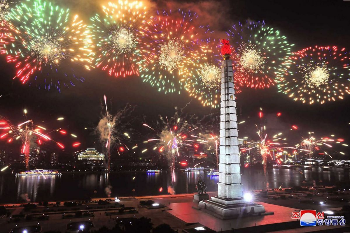 A picture taken on July 27, 2020 and released from North Korea's official Korean Central News Agency (KCNA) on July 28 shows fireworks launched in Pyongyang to celebrate the 67th anniversary of the Korean War ceasefire. PHOTO: HANDOUT VIA AFP