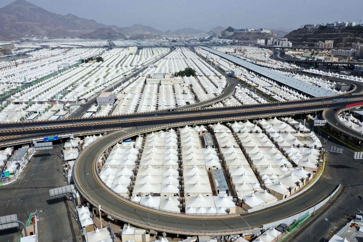 An aerial picture taken on July 27, 2020, shows a view of pilgrim housing tents near the Arafat mountain in the holy city of Mecca, in Saudi Arabia, ahead of the annual Muslim Hajj pilgrimage. PHOTO: AFP