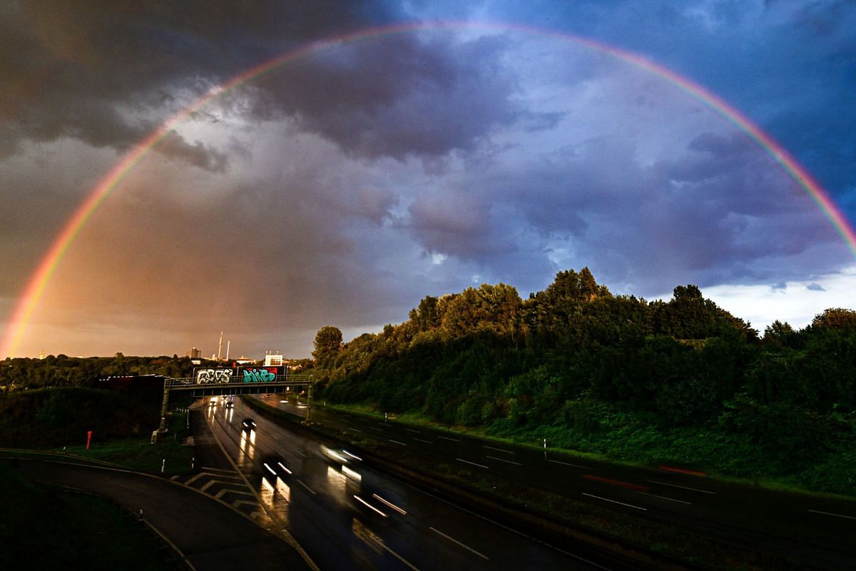 A rainbow and dark clouds are seen over the city of Dortmund, western Germany on July 26, 2020. PHOTO: AFP