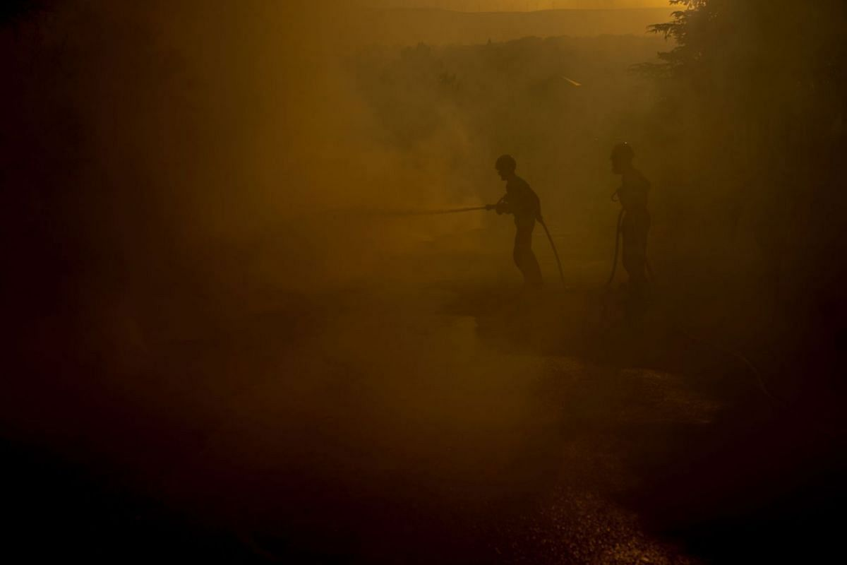Firefighters battle a forest fire in Cualedro, Ourense, northern Spain, 29 July 2020. PHOTO:  EPA-EFE