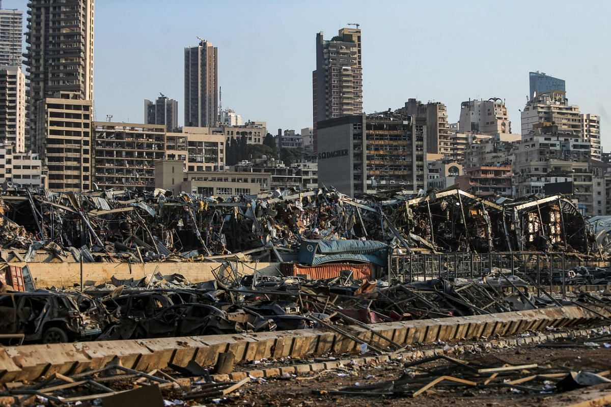 The view of destruction at the port of Lebanon's capital Beirut following a massive explosion on Aug 4, 2020.