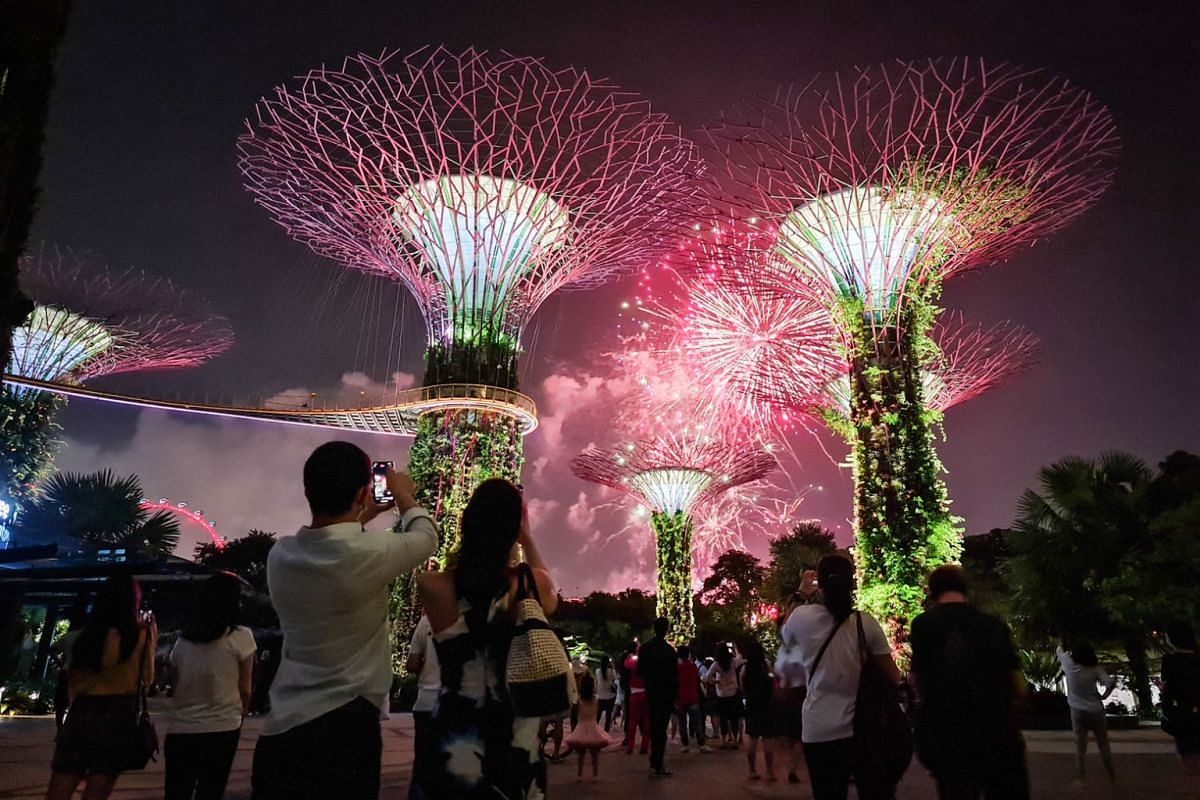 Fireworks display as seen from Gardens by the Bay's Supertree Grove. This photo was captured on the Samsung Galaxy Note20 Ultra 5G using the wide-angle camera in Photo mode.