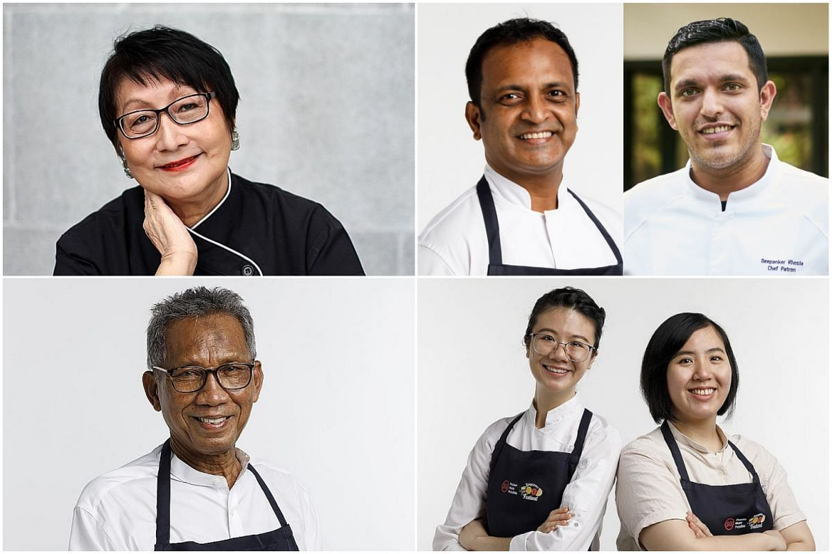 (Clockwise from top left) Culinary doyenne Violet Oon, chefs Manjunath Mural and Deepanker Khosla, Ms Lisa Tang and Ms Kuah Chew Shian, and Mr Jumrin Isrin.