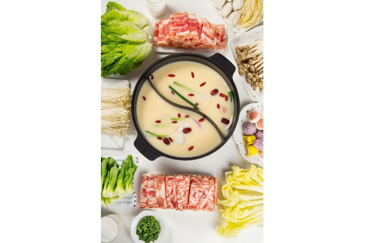 Chu Collagen's chicken broth used as a base for hotpot. Chu Collagen was founded by husband-and-wife team Peter Lau and Ethel Neo in April this year, using a recipe tested by Ms Neo.