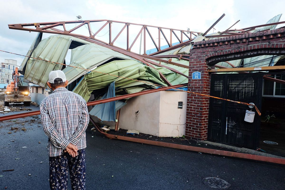 A  house damaged by Typhoon Maysak in the south-eastern port city of Ulsan on Sept 3, 2020.