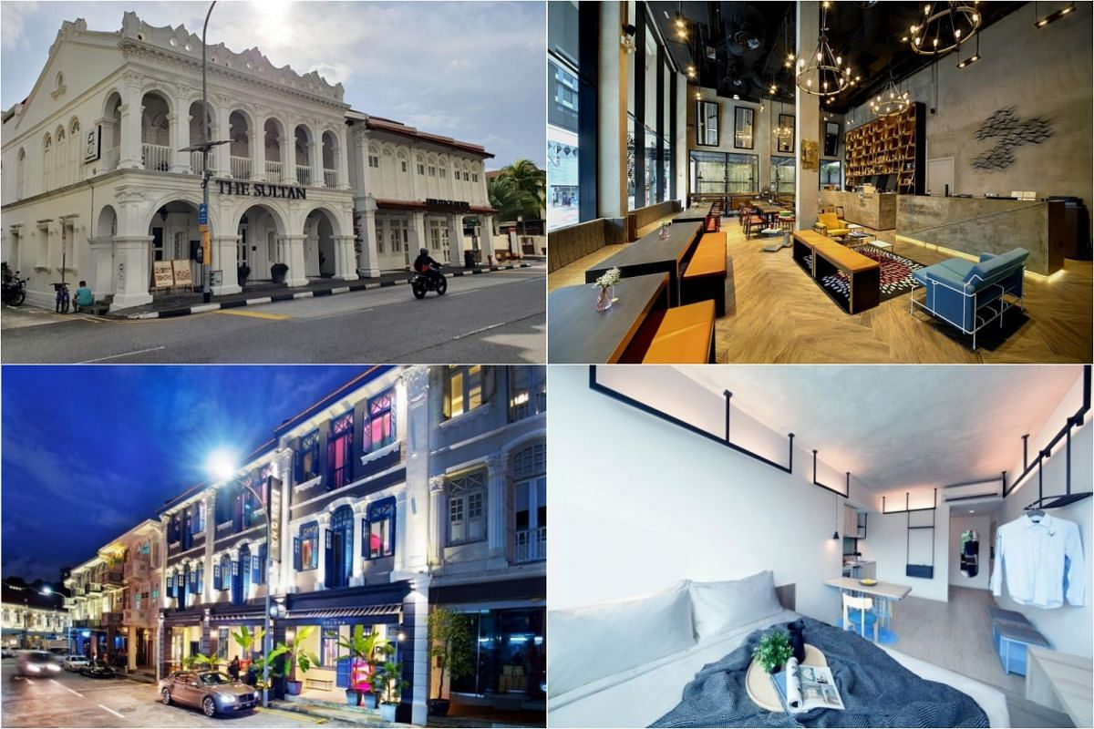 (Clockwise from top left) The Sultan, Hotel Yan, lyf Funan and Hotel Soloha.