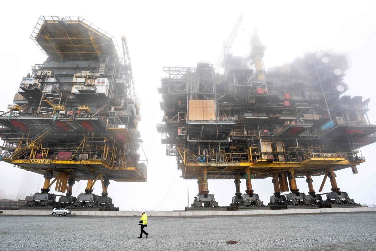 Scrapping and recycling of the Tyra East and Tyra West oil and gas processing platforms are underway at the port of Frederikshavn in Denmark, on September 15, 2020. PHOTO: RITZAU SCANPIX VIA AFP