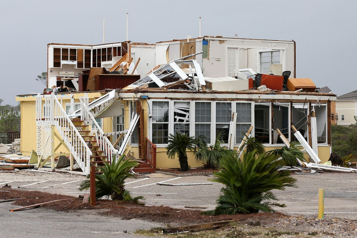 A damaged house caused by Hurricane Sally is pictured in Perdido Key, Florida, on Sept 16, 2020.