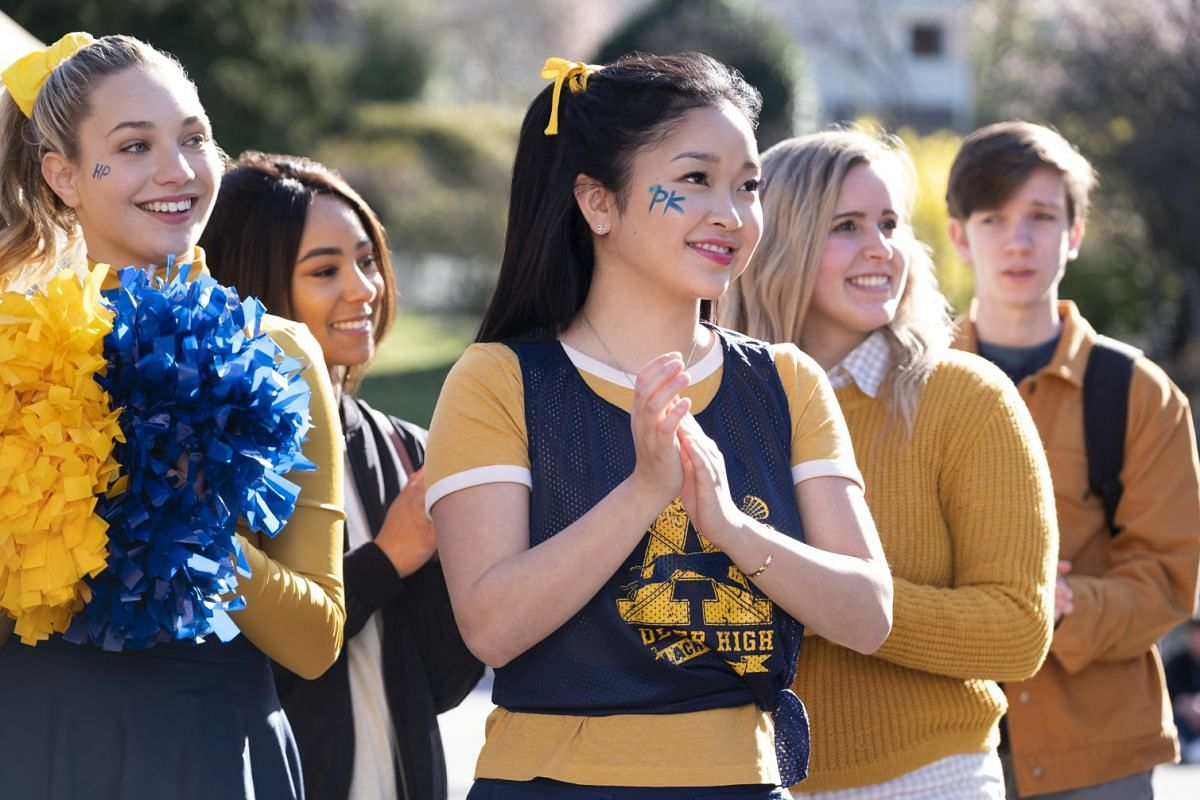 Vietnamese-American actress Lana Condor (centre) leads the cast of To All The Boys: P.S. I Still Love You.
