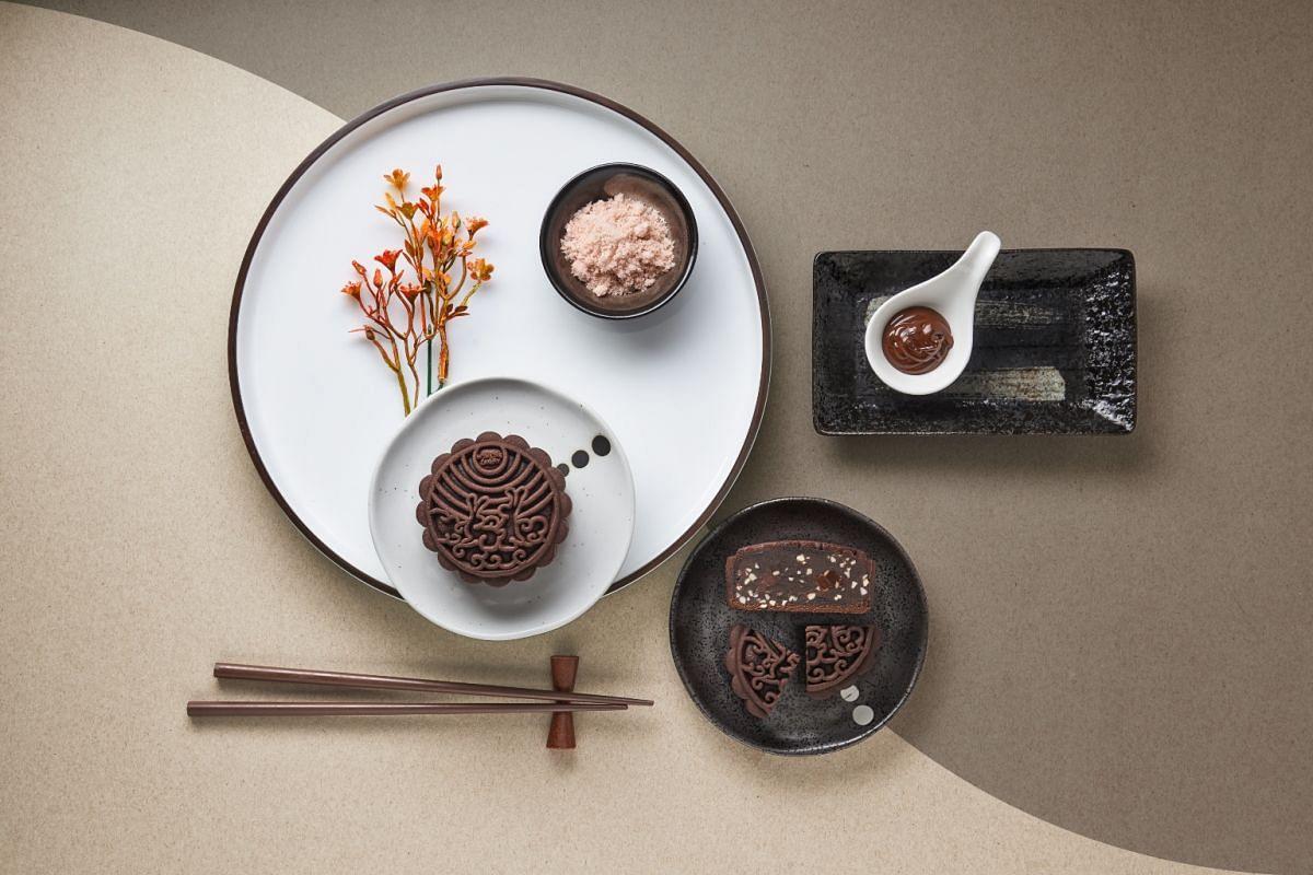 Pink Himalayan salt chocolate almond mooncake.