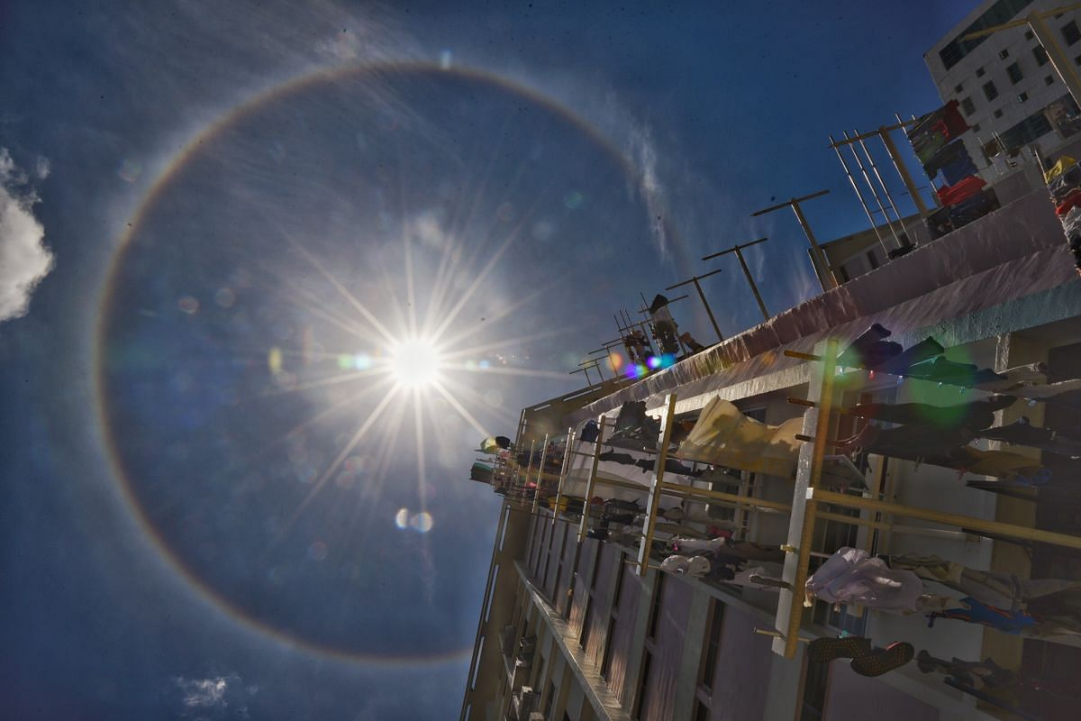 The sun halo seen from Guillemard Road on Sept 22, 2020, at about 12.15pm.