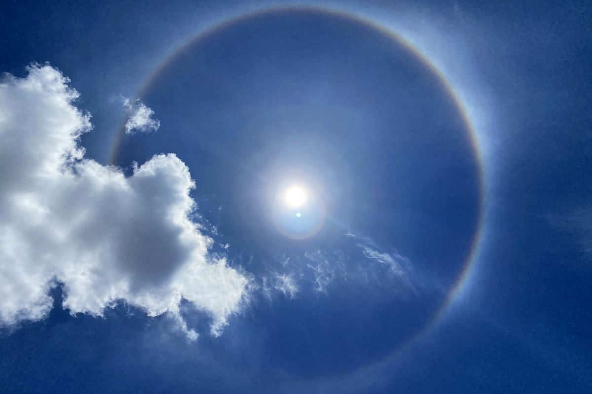 The sun halo above Tampines Street 82 at 12.14pm on Sept 22, 2020.