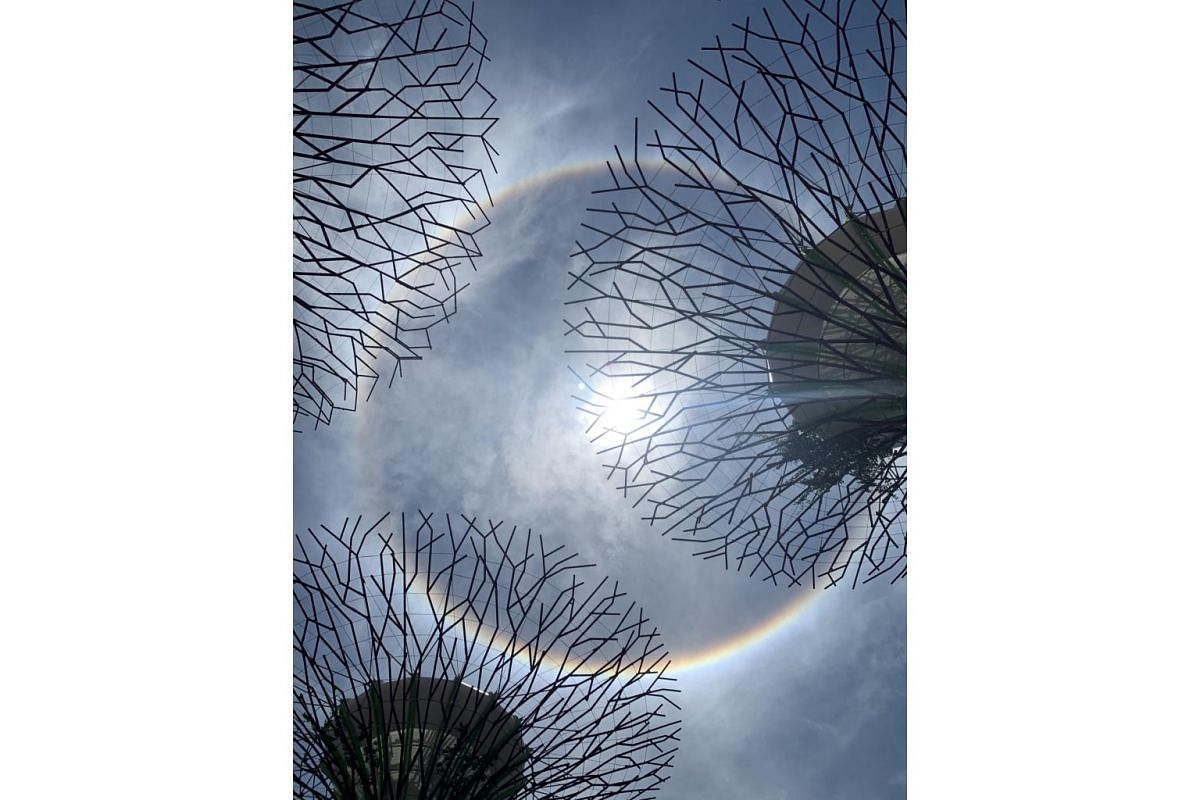 The sun halo as seen from Gardens by the Bay on Sept 22, 2020.
