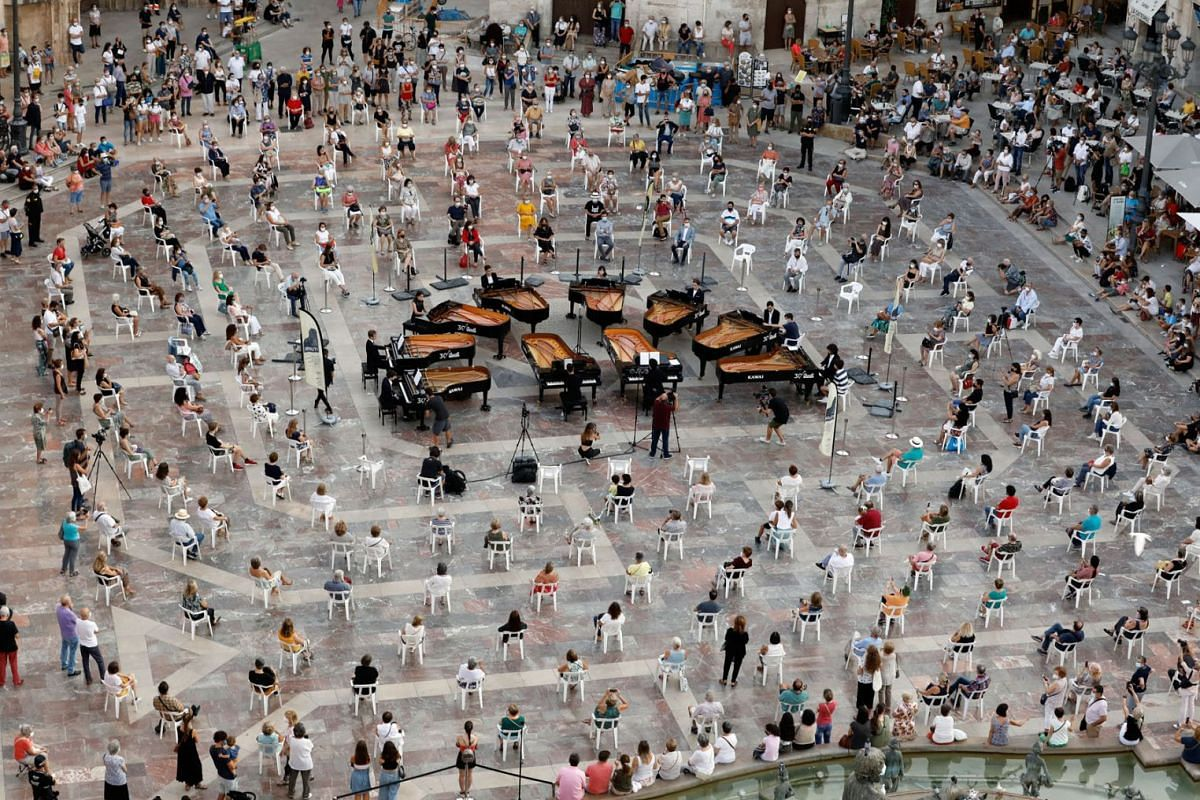 Ten pianists perform works of Mendelssohn, Tchaikovsky, Bersntein, Falla and Liszt on the first day of the 1st edition of the Iturbi Festival in Valencia, Spain,  September 23, 2020. PHOTO: EPA-EFE