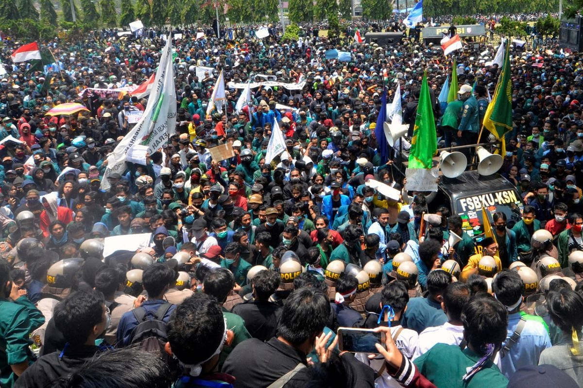 Demonstrators protest the Indonesian government's labour reforms Bill in Lampung, Sumatra, on Oct 7, 2020.