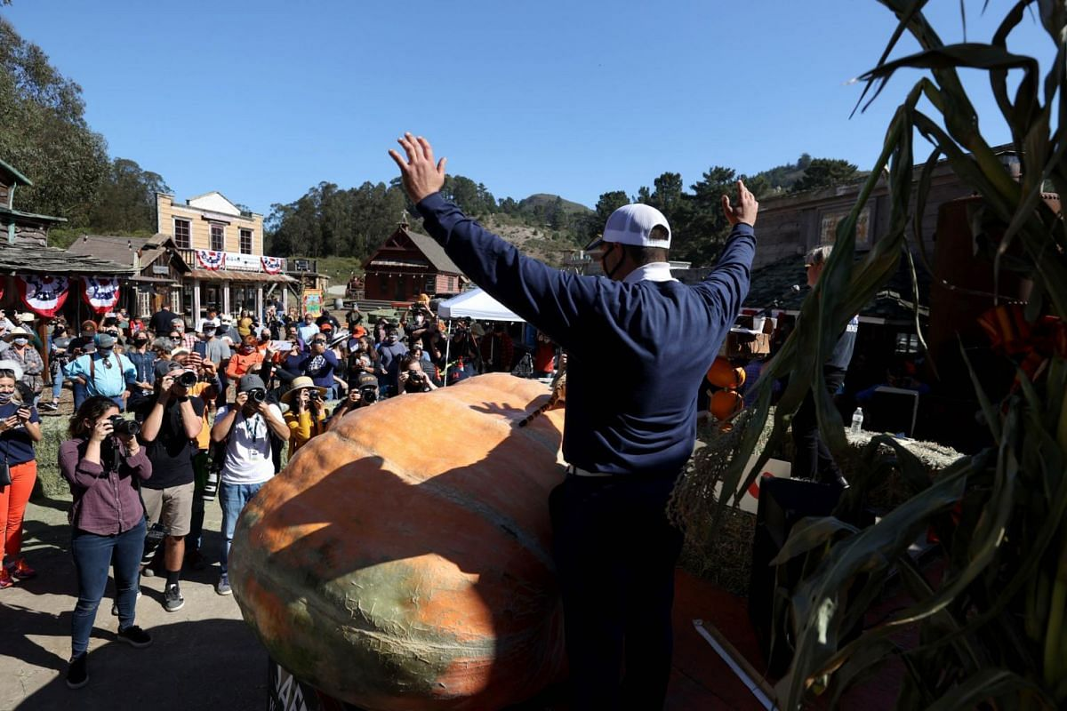 Travis Gienger raises his arms next to his 1,066kg pumpkin during the Safeway World Championship Pumpkin Weigh-Off in Half Moon Bay, California, on Oct 12, 2020.
