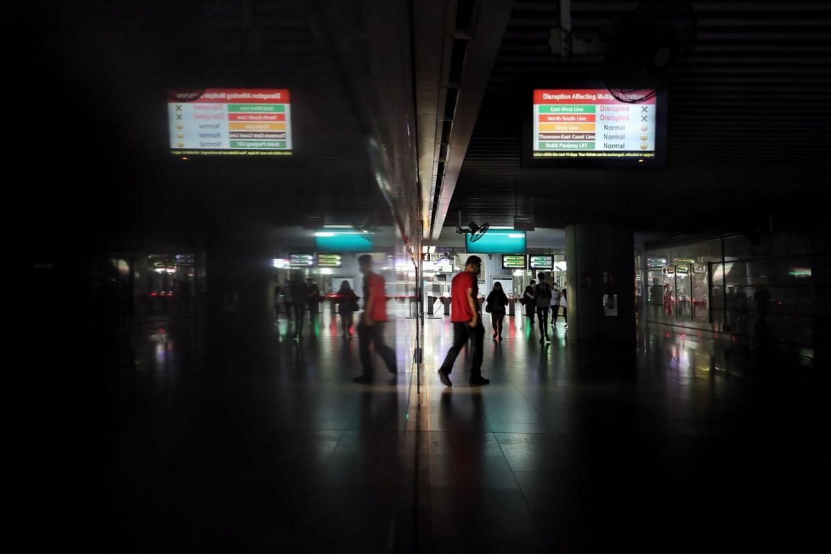 The 31/2-hour breakdown along parts of the North-South, East-West and Circle MRT lines caused by a faulty power cable led to blackouts at stations such as Jurong East as seen in a photo taken on Oct 14, 2020.