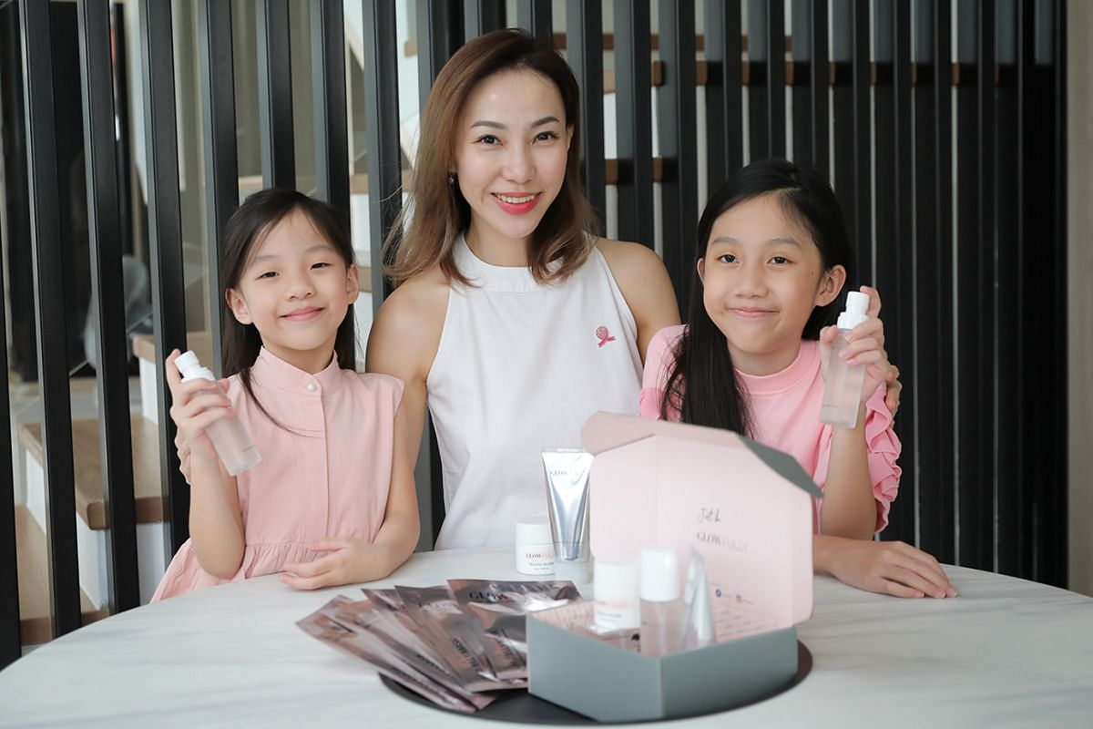 Ms Charlene Sim and her daughters Alexis (left) and Lauren Lim (right). Ms Sim started her clean skincare label Glowfully in 2018 as her mother had been diagnosed with stage 4 breast cancer and she wanted to create products that were safe for herself