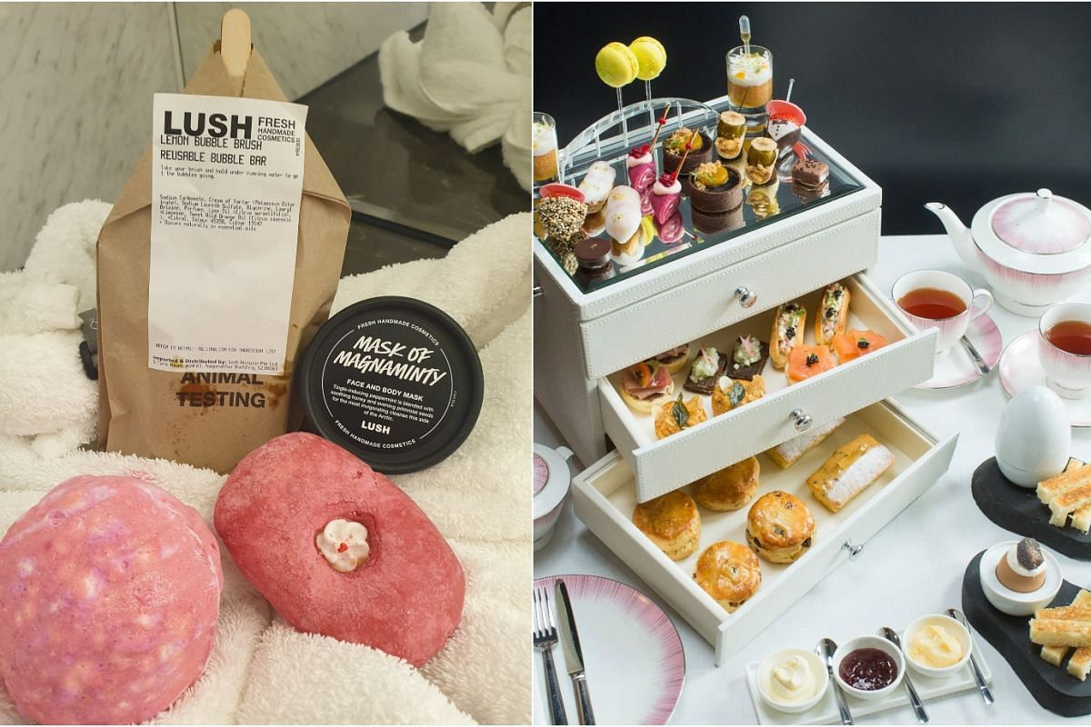 """Fairmont Singapore's """"Mumcation"""" package includes a 90-minute aromatherapy massage at Willow Stream Spa, afternoon tea (right) at Anti:dote tea lounge and bath products from Lush Singapore (left)."""